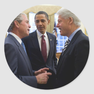 Obama Bush and Clinton Round Sticker