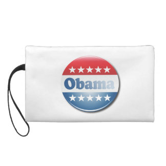 OBAMA CAMPAIGN BUTTON -.png Wristlet Clutch