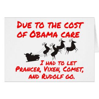 Obama Care Affects Santa Greeting Card