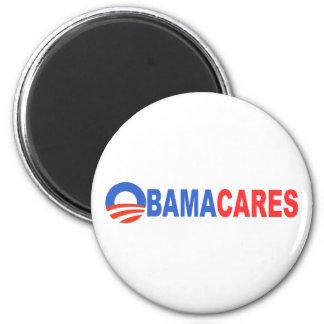 Obama cares 6 cm round magnet