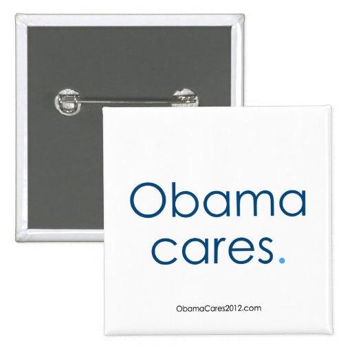 """Obama cares, period. 2 """" Square Button"""
