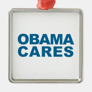 Obama Cares Silver-Colored Square Decoration