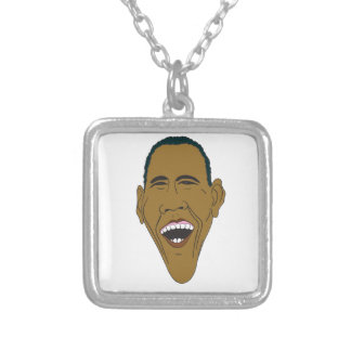 Obama Caricature Silver Plated Necklace