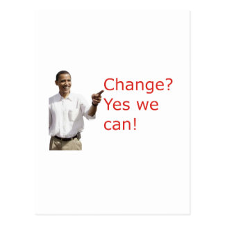 Obama Change Yes We Can Postcard