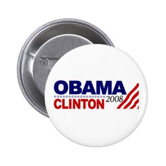 Obama Clinton 2008 Button