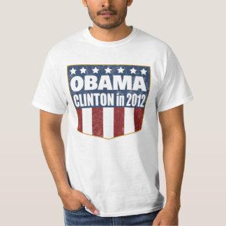 Obama Clinton 2012 shield faded Tees