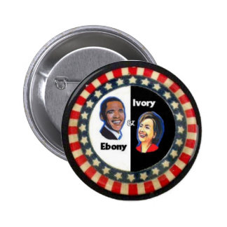 Obama & Clinton, Stars & Stripes 6 Cm Round Badge