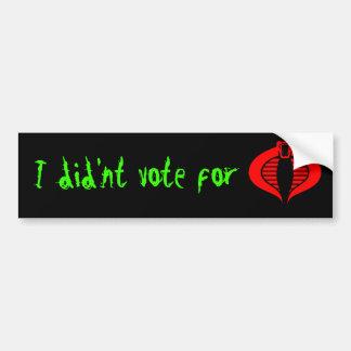 Obama cobra bumper sticker