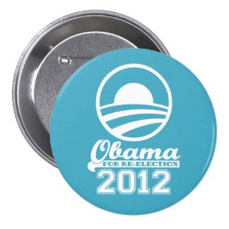 OBAMA For Re-Election Campaign Button 2012 aqua