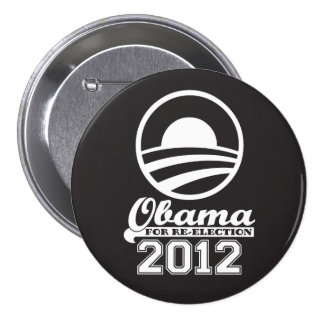 OBAMA For Re-Election Campaign Button 2012 (black)