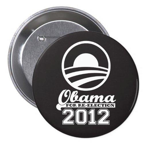 OBAMA For Re-Election Campaign Button 2012 (black)