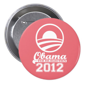 OBAMA For Re-Election Campaign Button 2012 (coral)