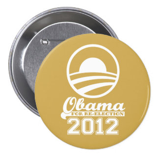 OBAMA For Re-Election Campaign Button 2012 (gold)