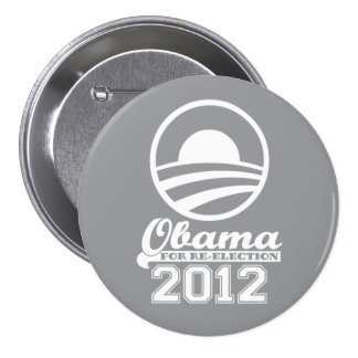 OBAMA For Re-Election Campaign Button 2012 (grey)