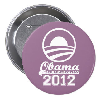 OBAMA For Re-Election Campaign Button 2012 lilac