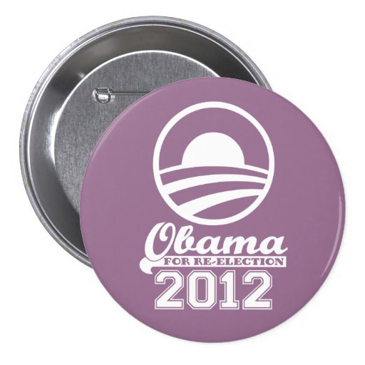 OBAMA For Re-Election Campaign Button 2012 (lilac)