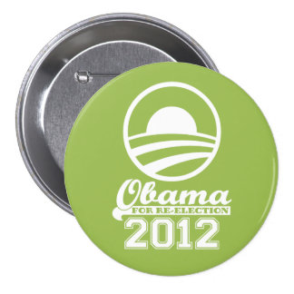 OBAMA For Re-Election Campaign Button 2012 (lime)