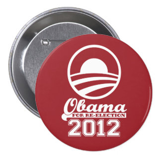 OBAMA For Re-Election Campaign Button 2012 (red)