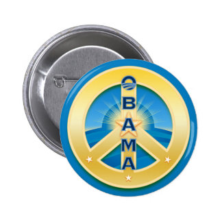 Obama GoldStar Peace Button, round on blue 6 Cm Round Badge