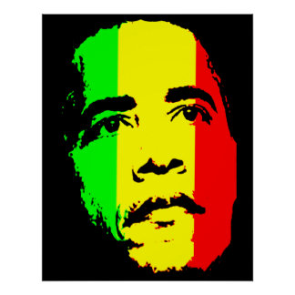 Obama Green Gold and Red Face Poster