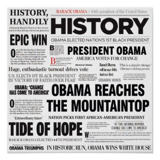 Obama: Historic Headline Collage Poster