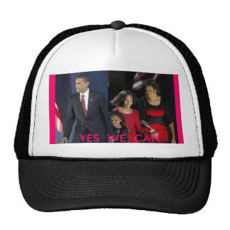 Obama holding hands with Famly Yes We Can YES Hats