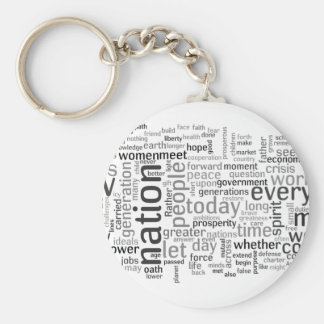 Obama Inauguration Speech Tagcloud Basic Round Button Key Ring