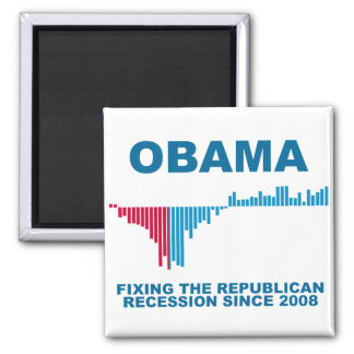 Obama Job Growth Graph Square Magnet
