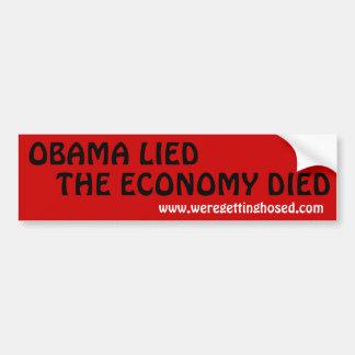 OBAMA LIED-THE ECONOMY DIED BUMPER STICKER