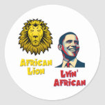 Obama Lyin' African/ African Lion Round Stickers