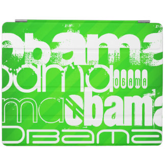 Obama; Neon Green Stripes iPad Cover