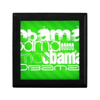 Obama; Neon Green Stripes Small Square Gift Box