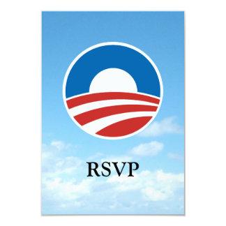 Obama-O Logo with Blue 9 Cm X 13 Cm Invitation Card