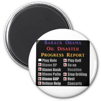 Obama oil spill progress report refrigerator magnet