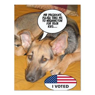 Obama Pet/Whitehouse Humor 11 Cm X 14 Cm Invitation Card