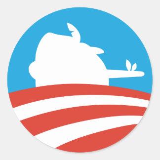 Obama Pinocchio Logo Round Sticker