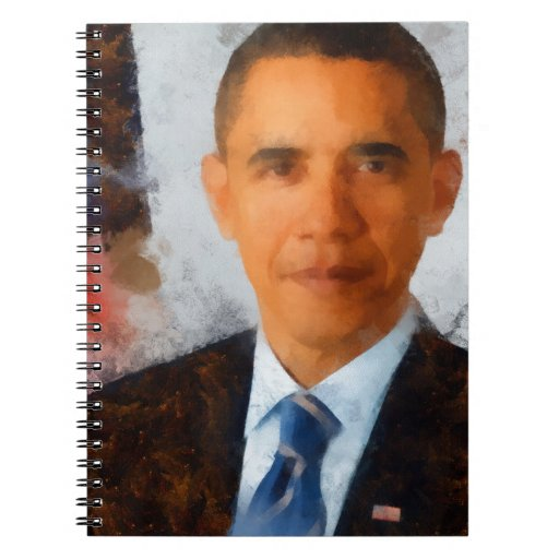 Obama Portrait Painting Spiral Notebooks