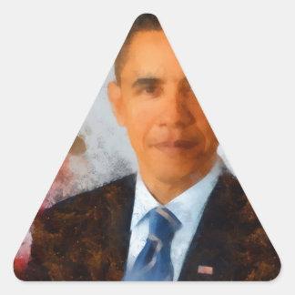 Obama Portrait Painting Triangle Sticker