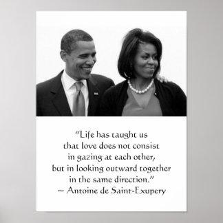 OBAMA POSTER, Antoine de Saint-Exupery quote