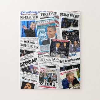Obama Re-Elected Newspaper Collage Puzzle