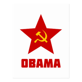 Obama red star postcard