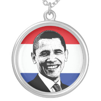 Obama Red White & Blue American Flag Necklace