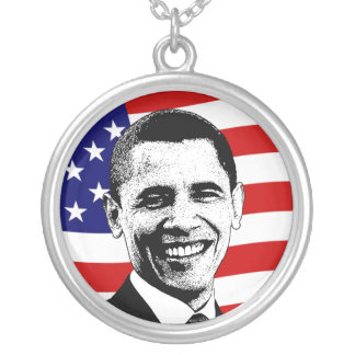 Obama Red White Blue American Flag Necklace