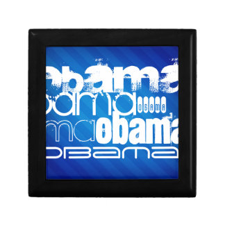 Obama; Royal Blue Stripes Small Square Gift Box