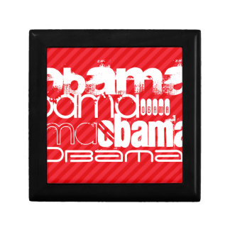 Obama; Scarlet Red Stripes Small Square Gift Box