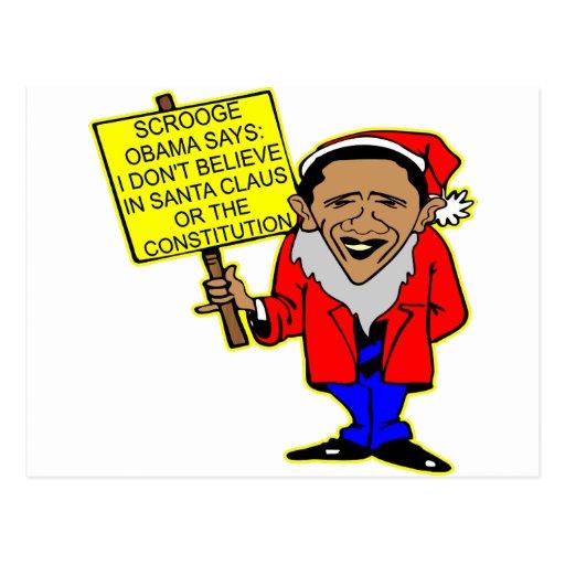 Obama Scrooge No Santa Claus No Constitution Post Cards
