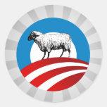 OBAMA SHEEP ROUND STICKERS