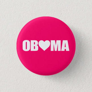 """""""'OBAMA' SPELLED WITH HEART"""" 3 CM ROUND BADGE"""