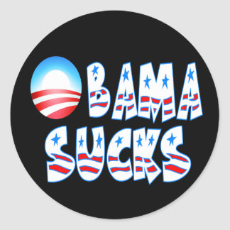 Obama Sucks Round Sticker
