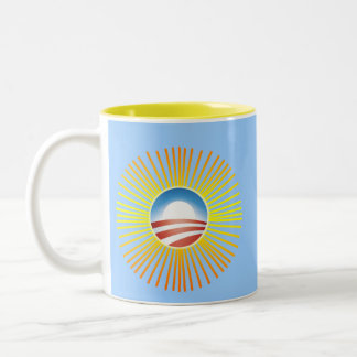 Obama Sun Design on Tshirts, Hoodies Two-Tone Coffee Mug